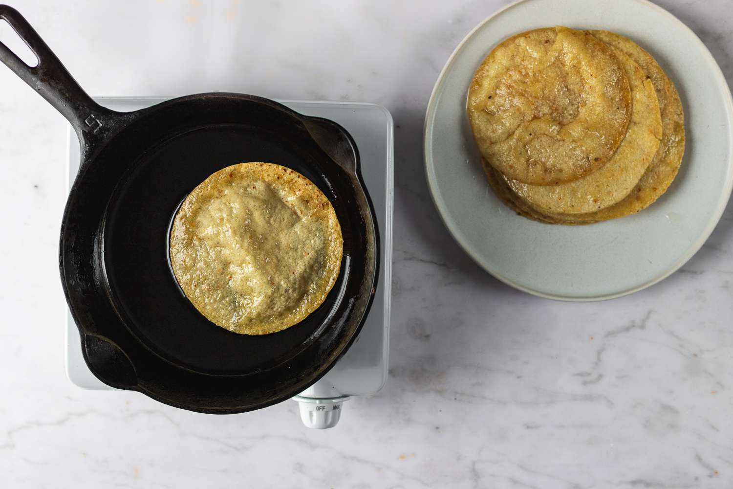 tortilla in a pan with oil