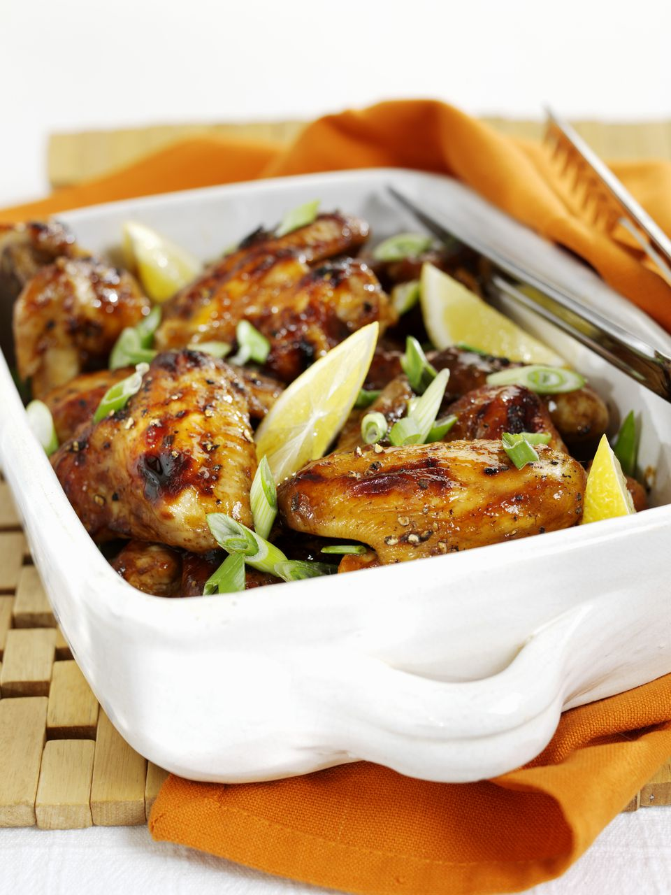 Chicken wings with Hoisin sauce in a roasting dish