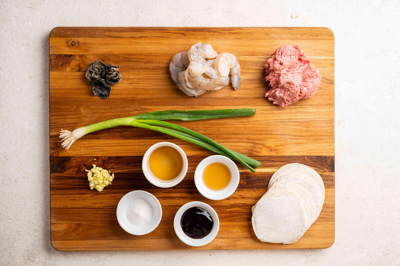 Ingredients for siu mai dumplings