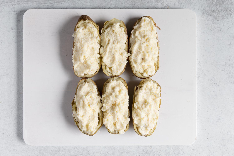 potato skins with mashed potatoes inside