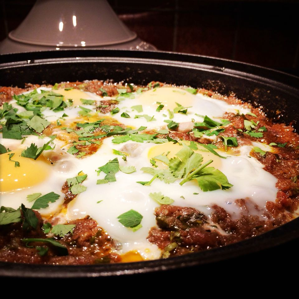 Kefta mkaouara tagine with meatballs, eggs, and spicy tomato sauce