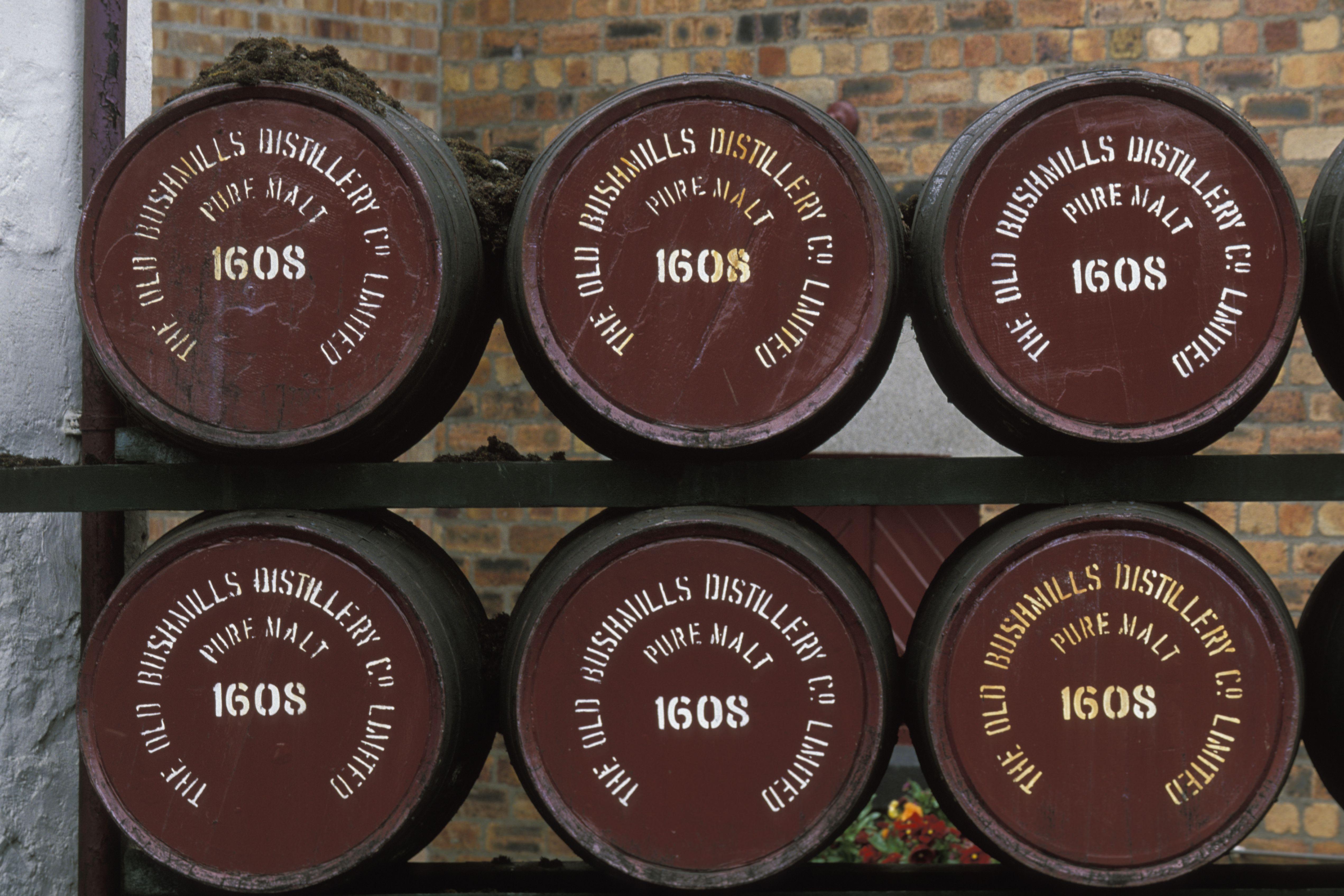 Barrels of pure malt whiskey at Bushmills Distillery.