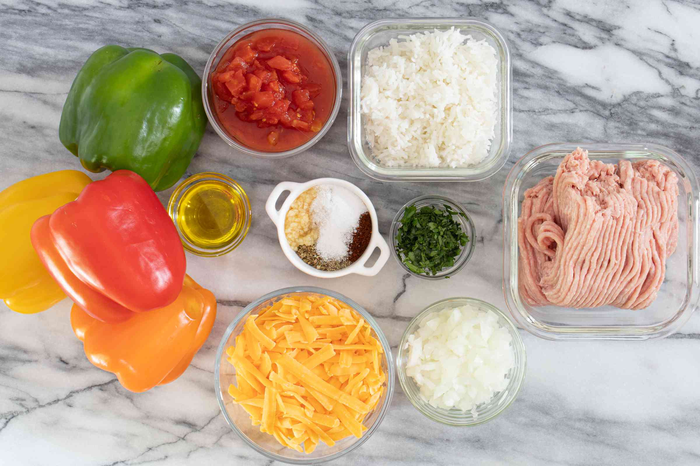 ingredients for turkey stuffed peppers