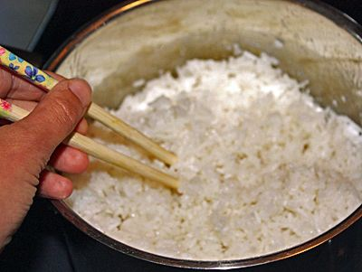 Fluffing Rice with Chopsticks