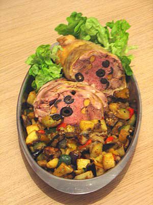 The stuffed chicken: Done, and served with caponata