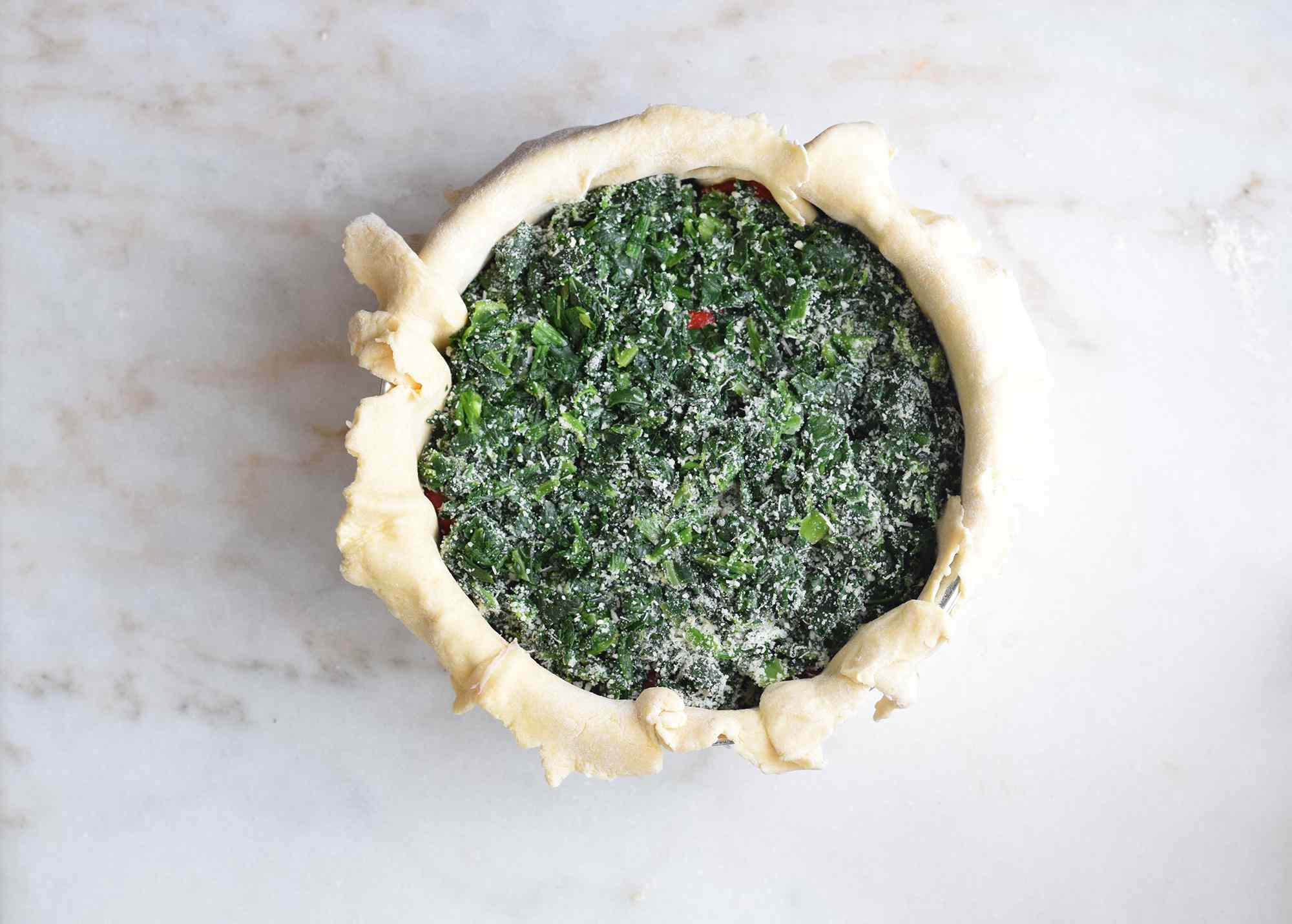 spinach layered into the Easter pie