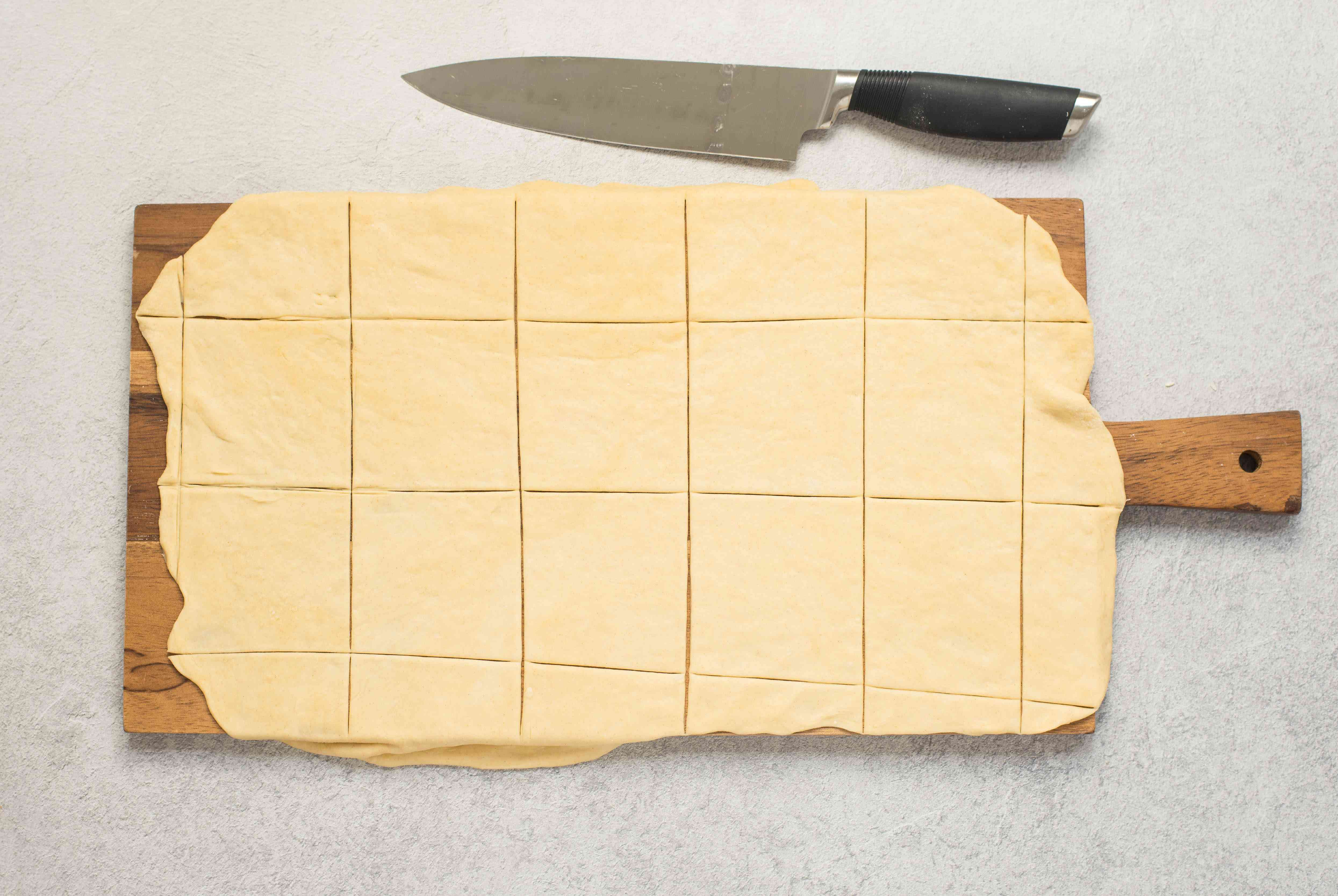 Dough is cut into 3 1/2-inch squares