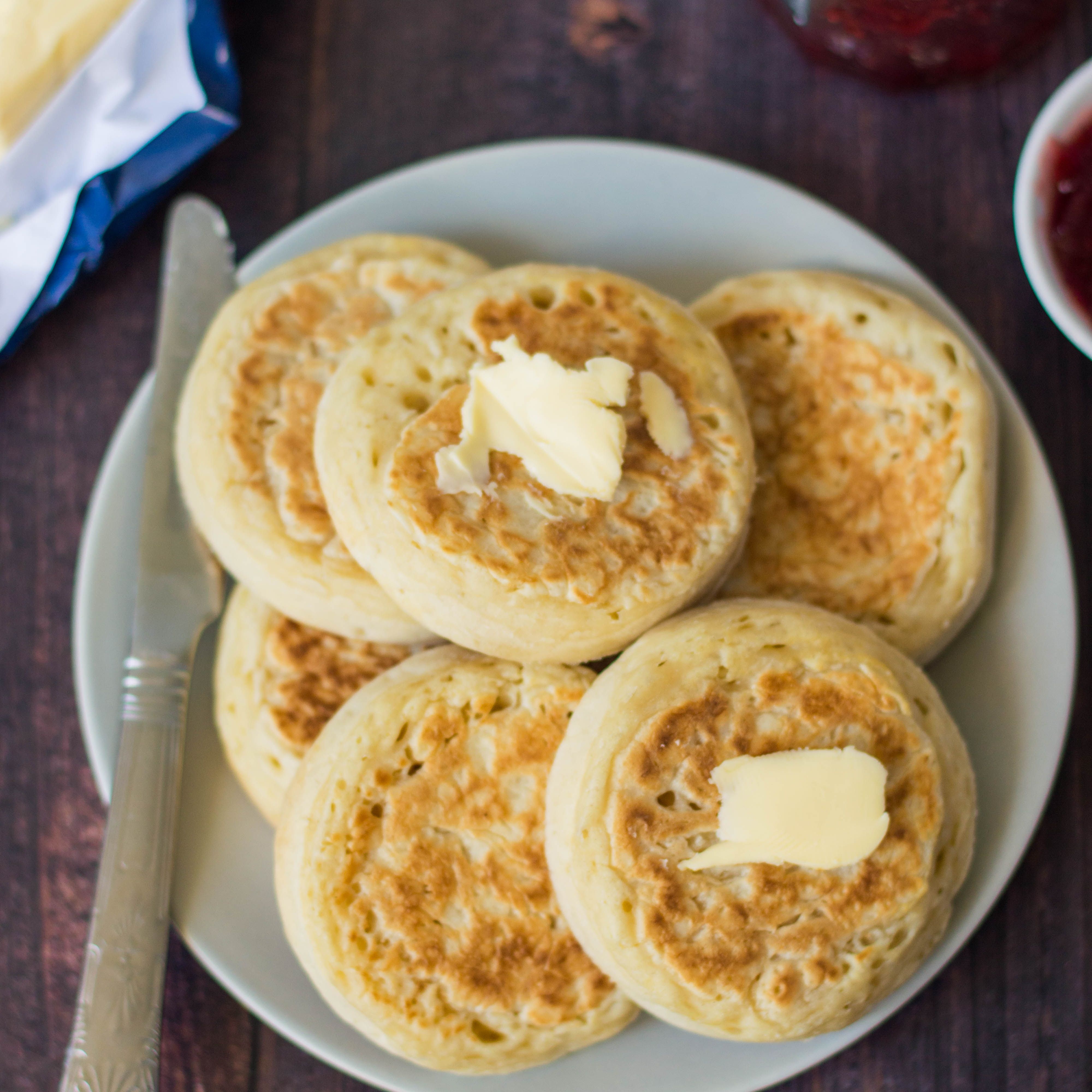 Serve crumpets with butter and jam