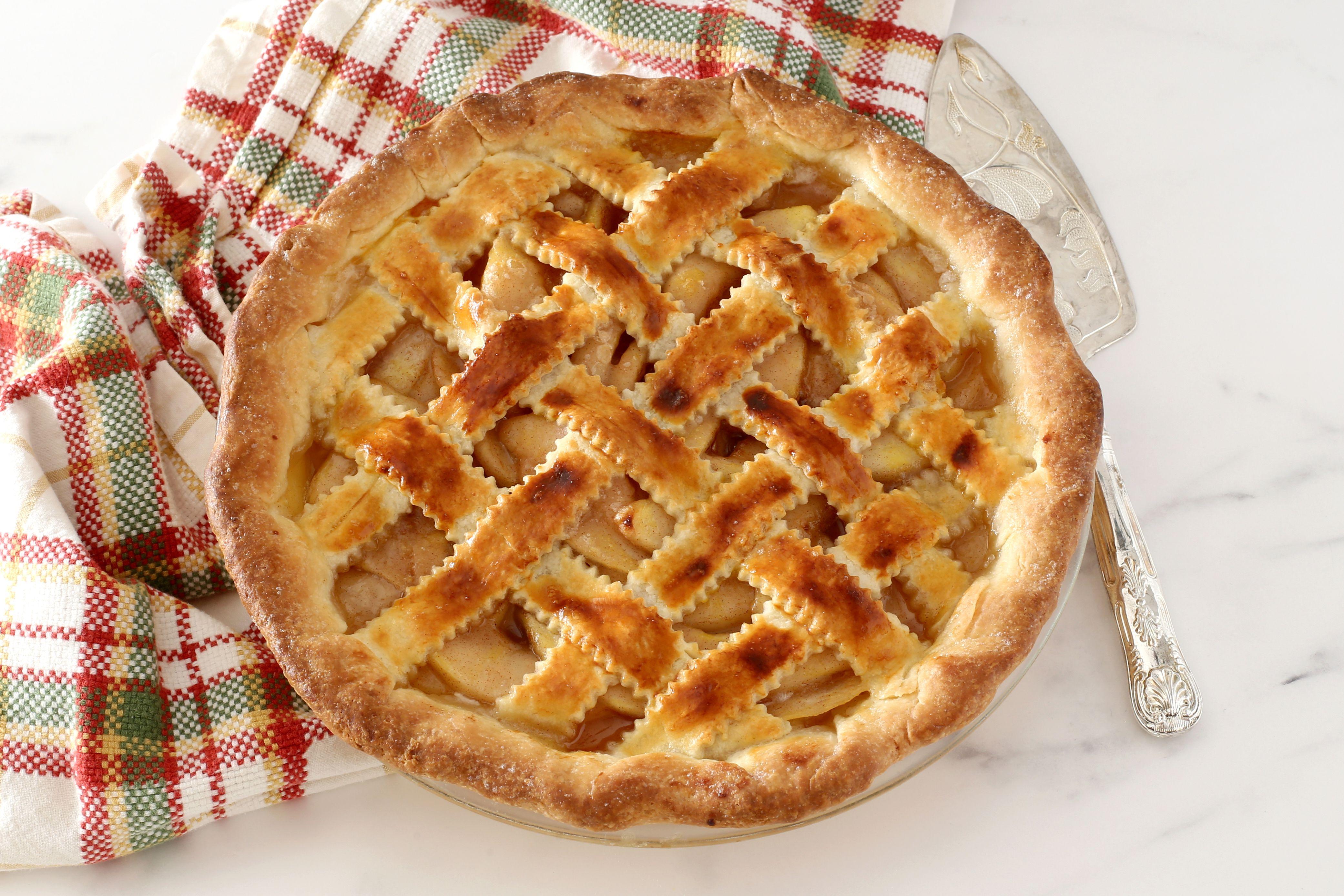 Pear pie with lattice top crust.
