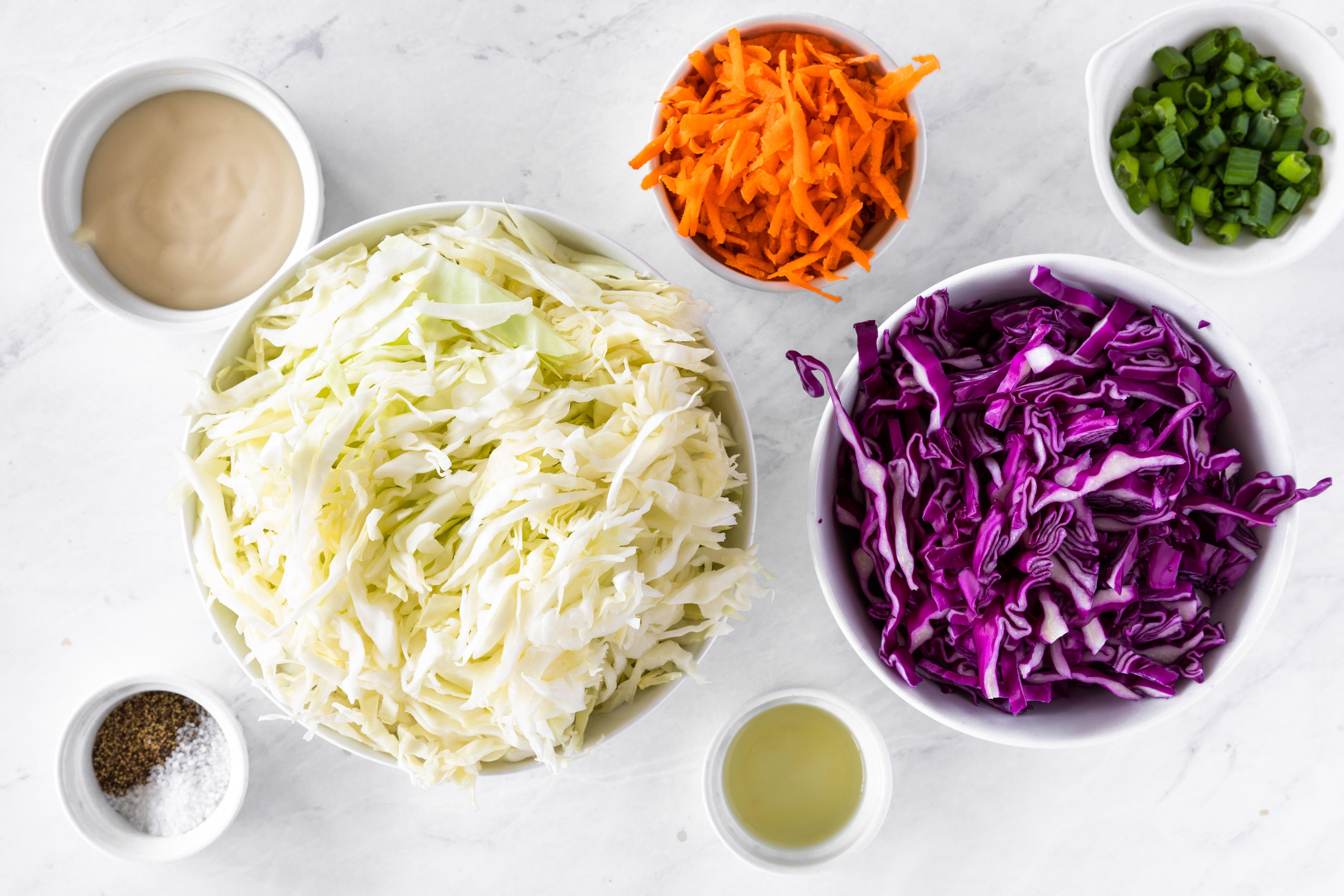 Ingredients for cole slaw salad