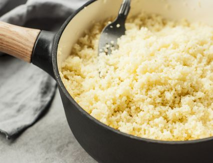 Couscous cooked in a pot