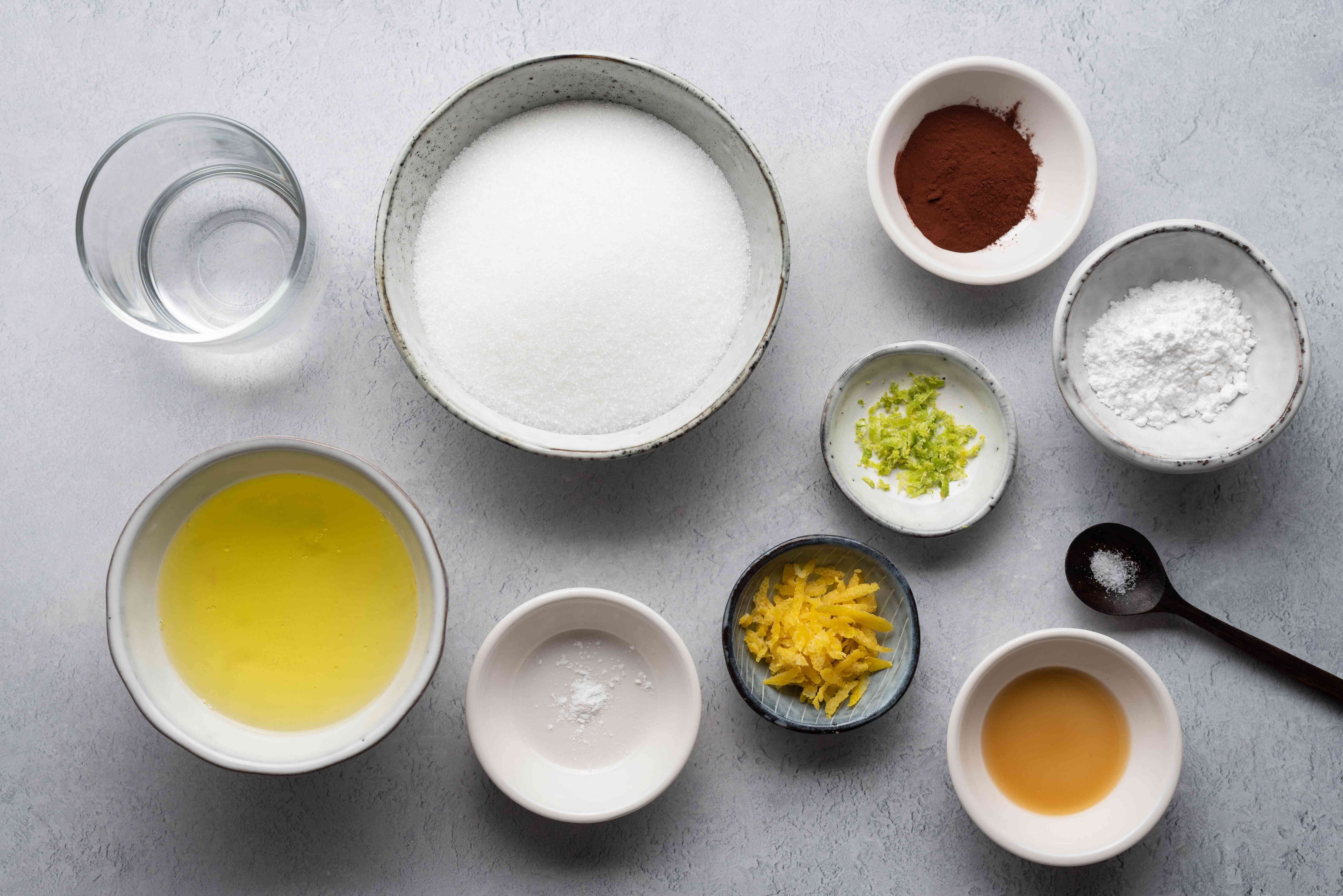 Ingredients to make meringue candy kisses