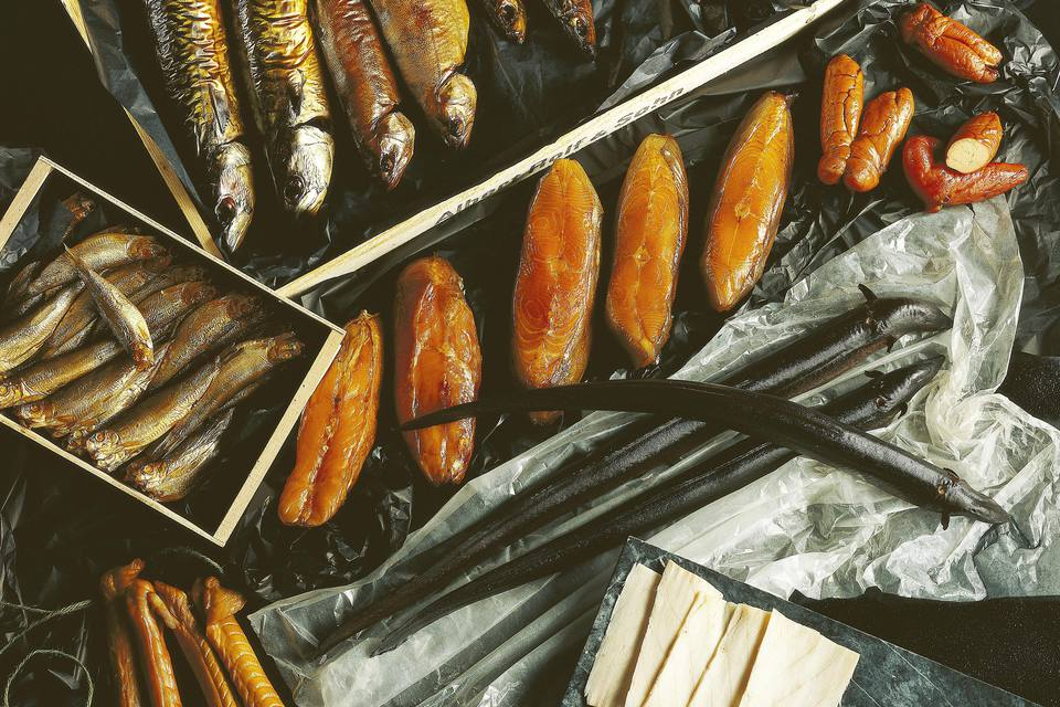 Assorted smoked fish