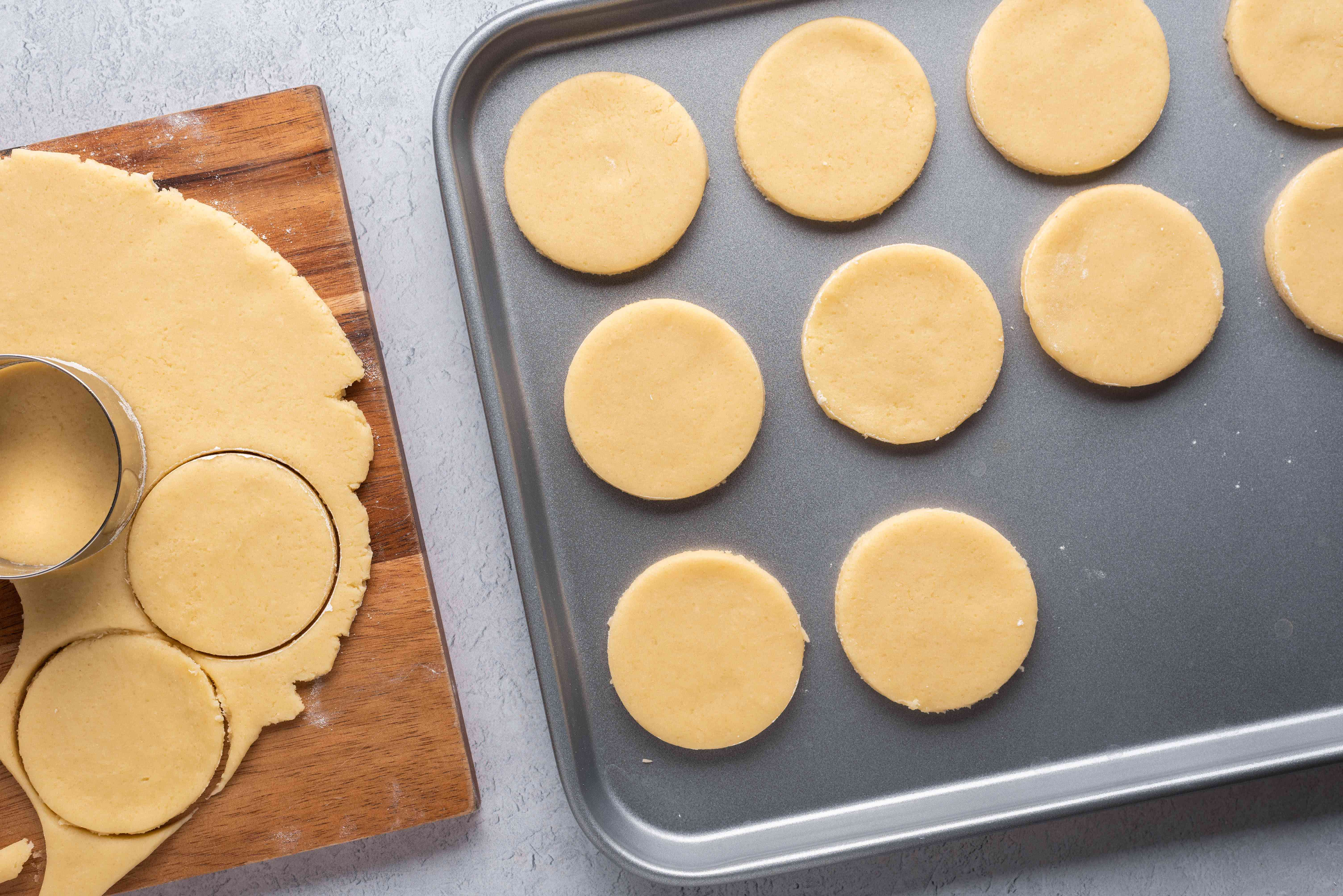 Cut cookies on a baking sheet