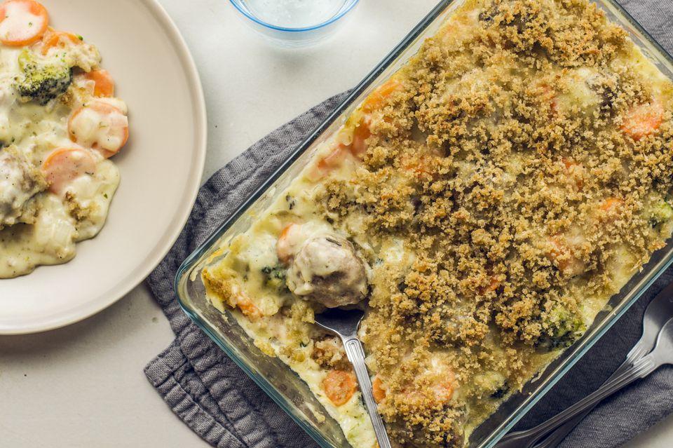 Cheesy meatball veggie casserole recipe