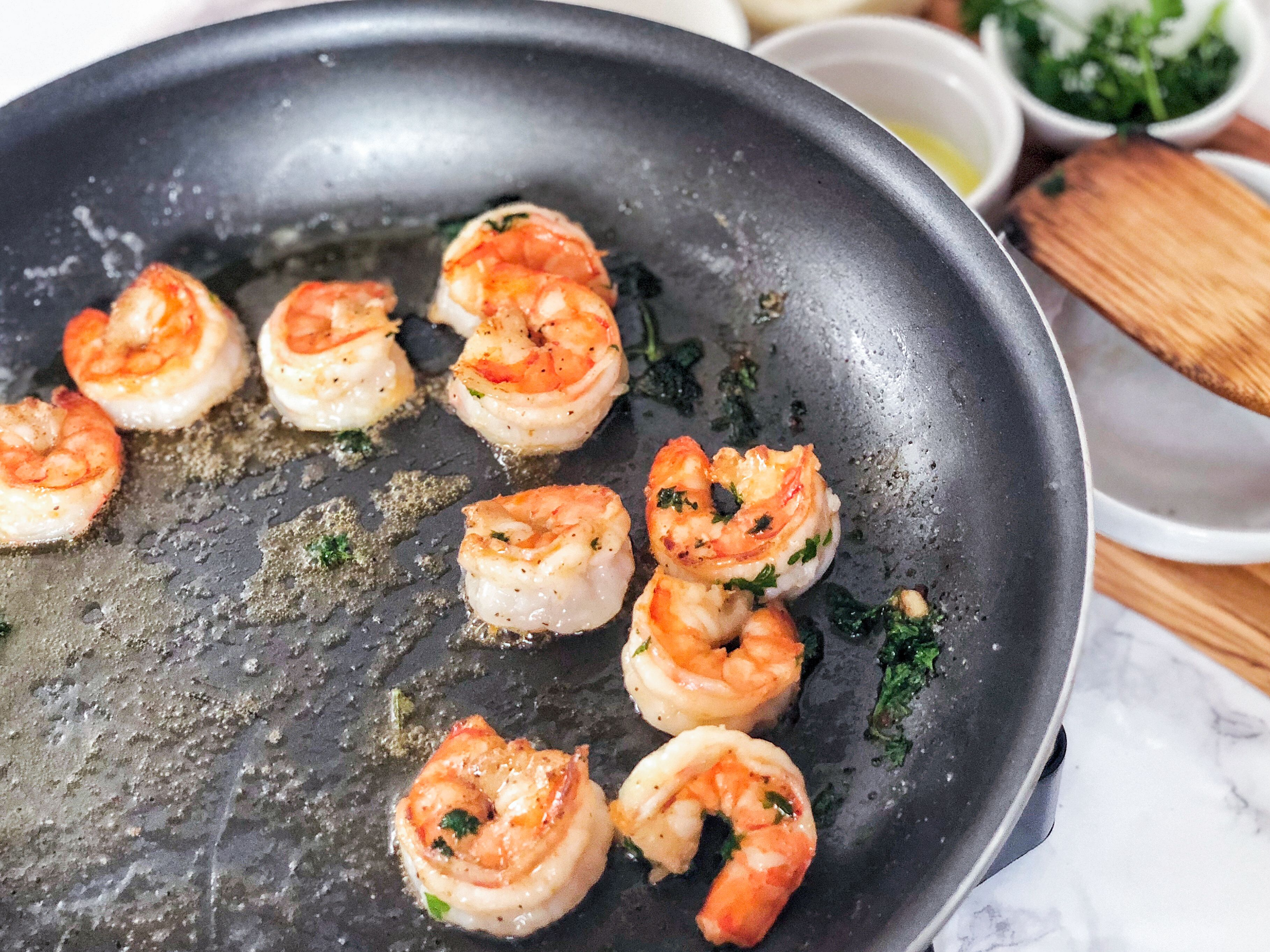 Cook shrimp until pink