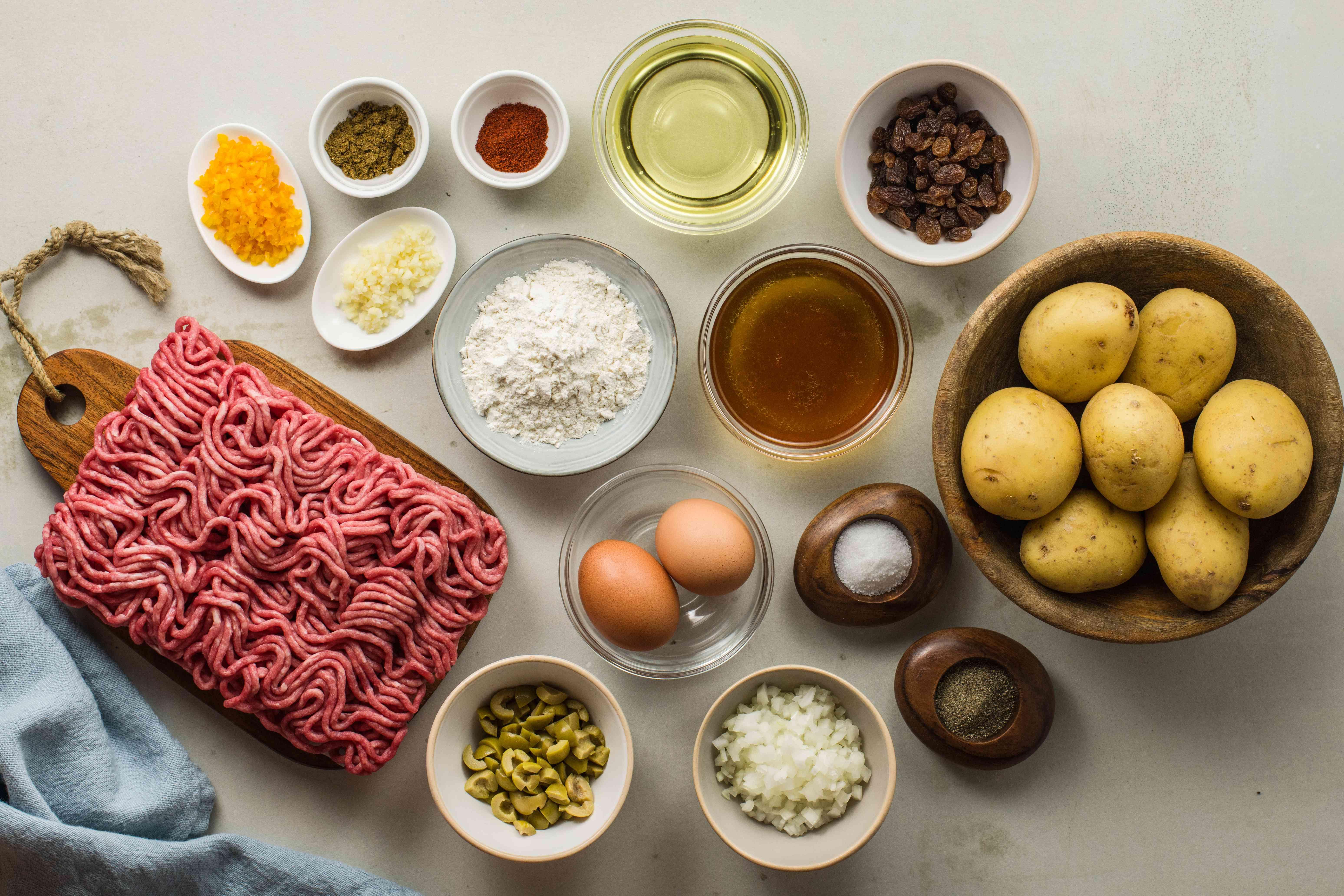 Ingredients for papas rellenas