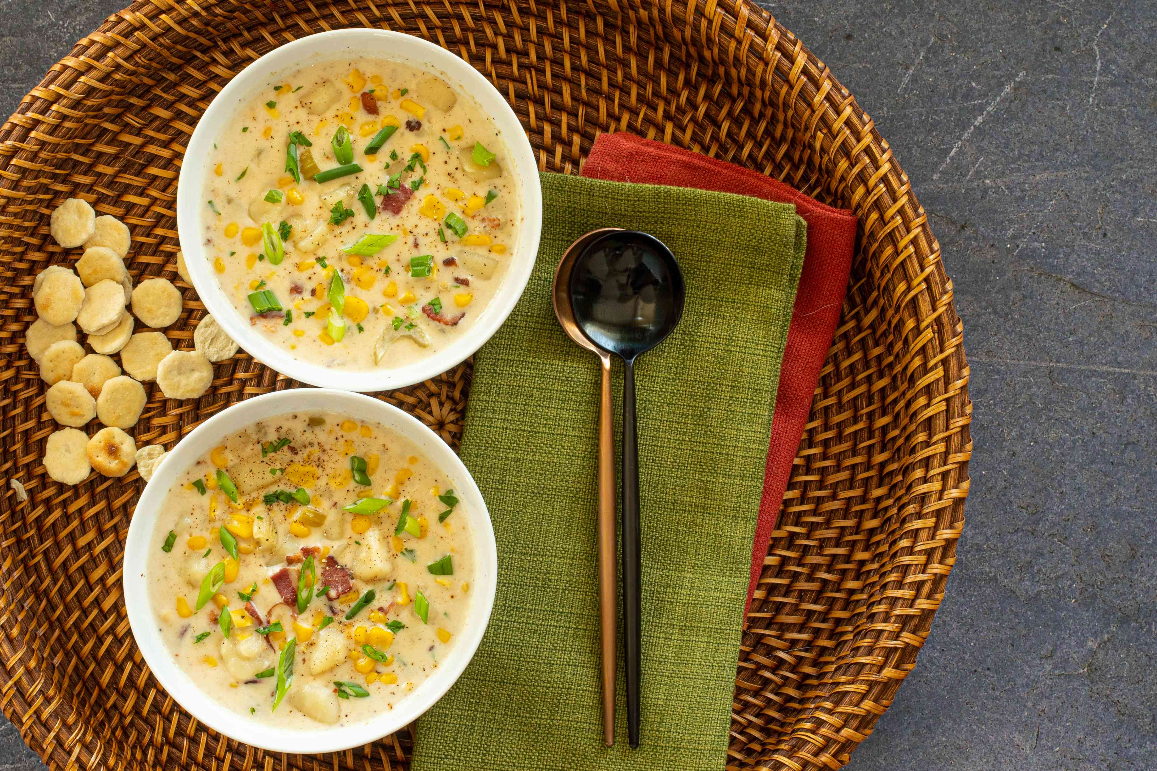instant pot corn chowder for two in bowls with spoons