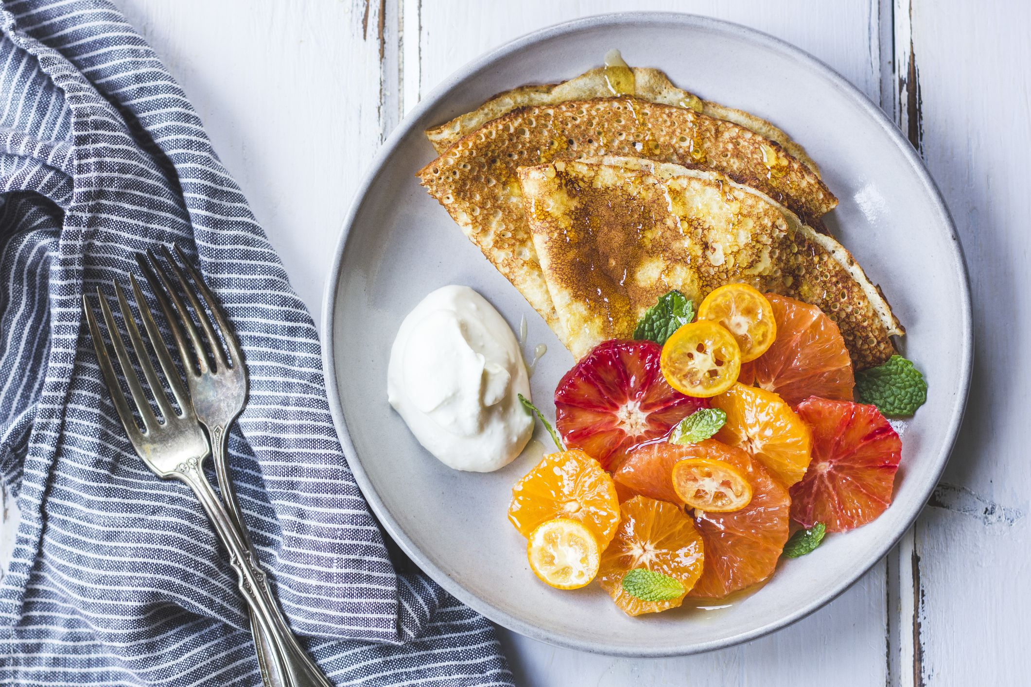 Crepes with Citrus Fruit Salad