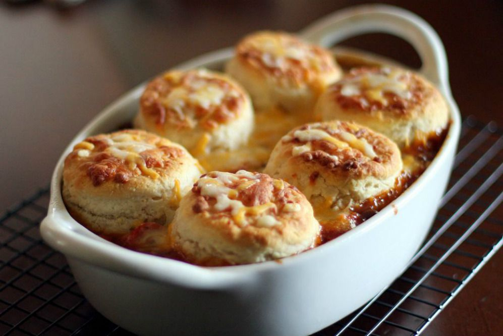 Baked Beans and Hot Dogs with Biscuit Topping