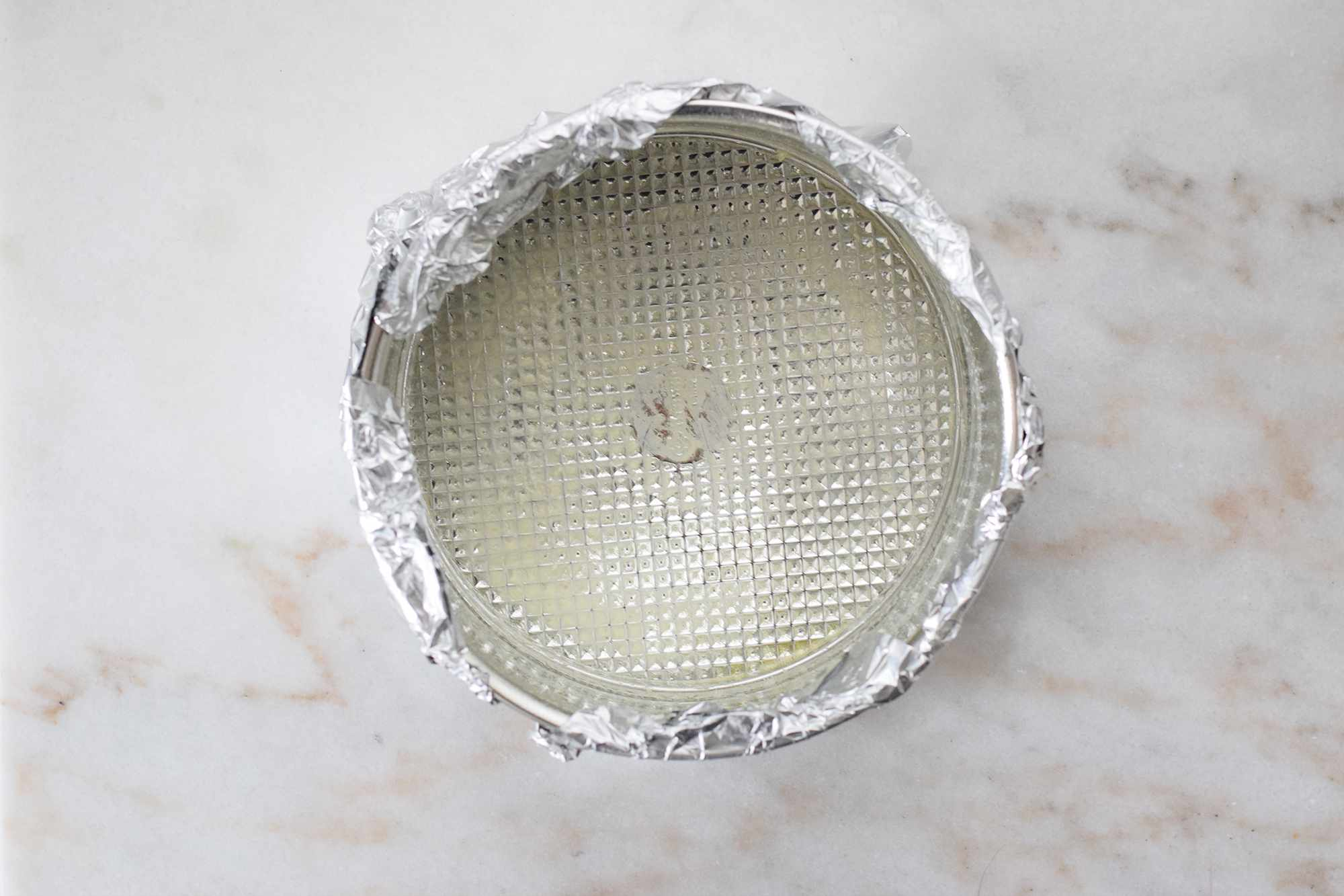 springform pan greased with butter and wrapped with foil