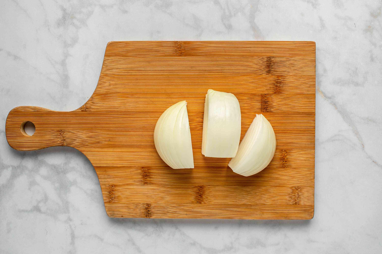 Cut one half of onion