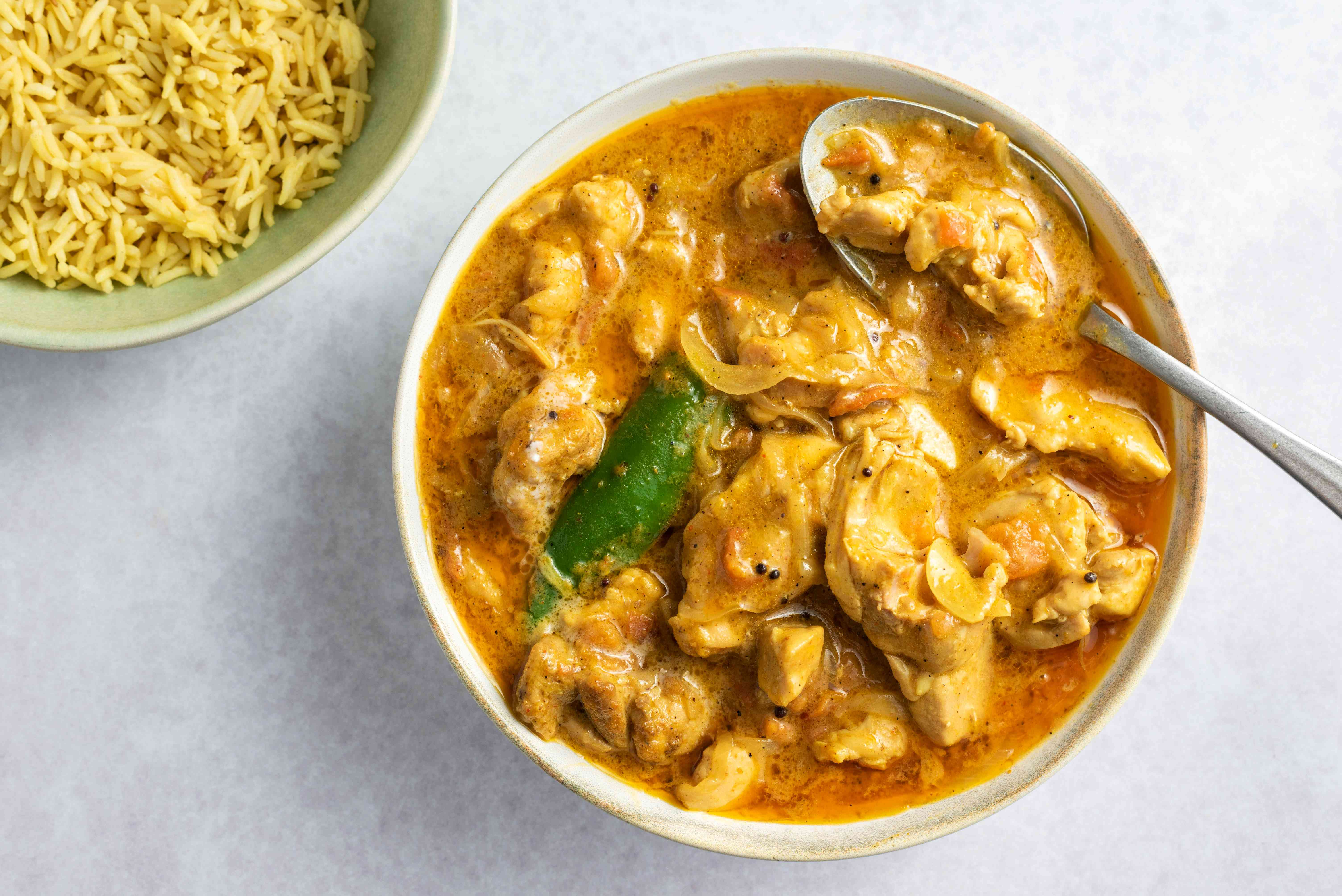 South Indian-Style Chicken Curry in a bowl