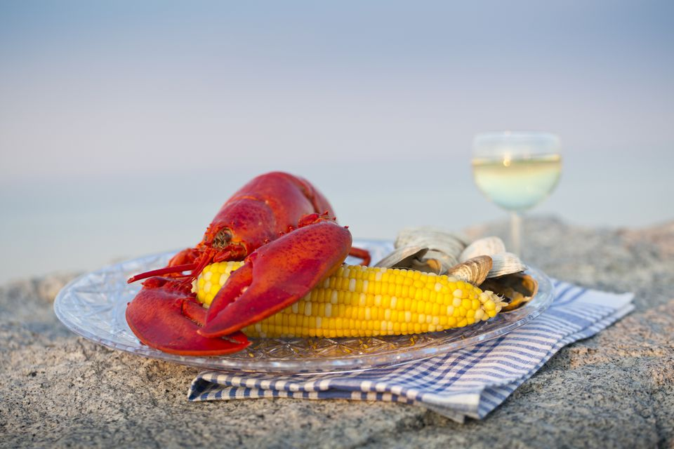 A cooked red Maine Lobster rests on a cooked ear of corn and a collection of little neck clams