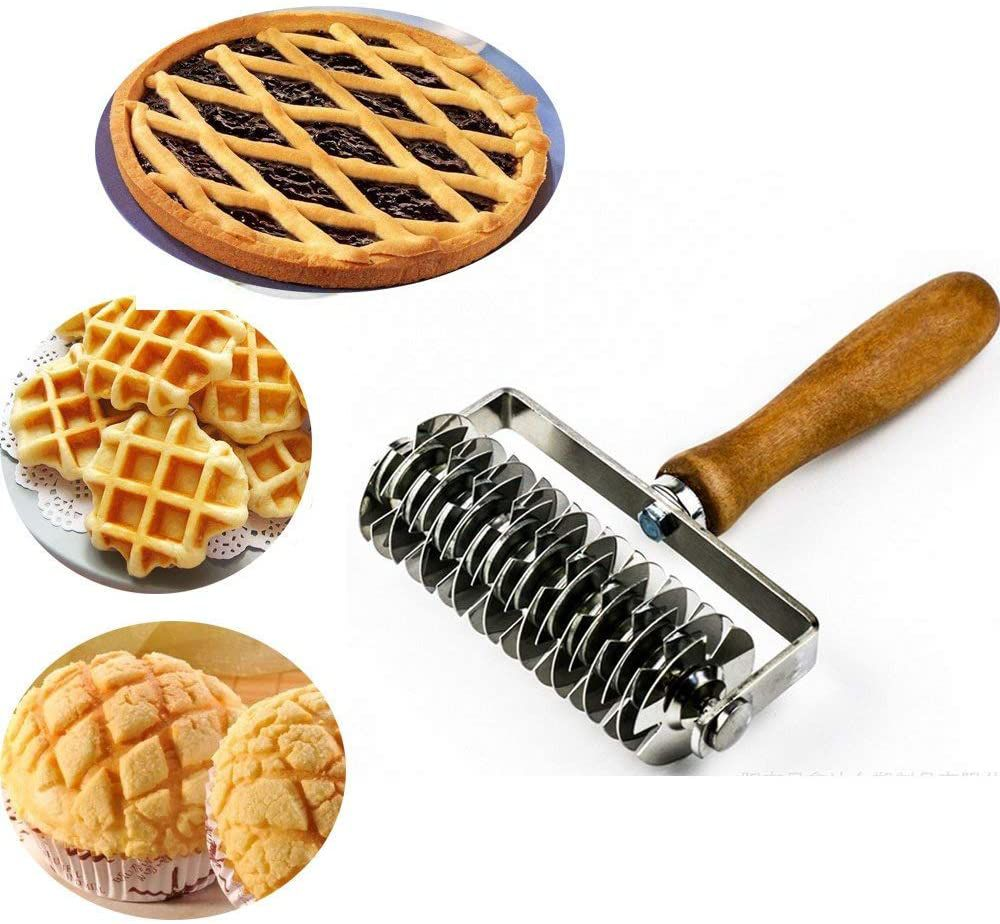 Tebasty Stainless Steel Dough Lattice Roller Cutter with Wood Handle