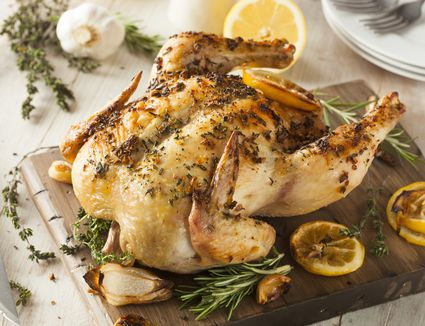 Roasted chicken prepared with citrus