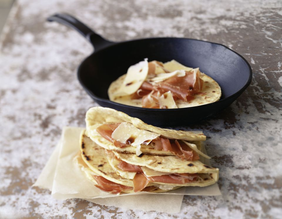Piadina Romagnola with parmesan and prosciutto