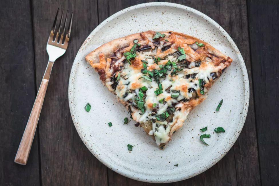 Grilled Eggplant and Fresh Basil Vegetarian Pizza