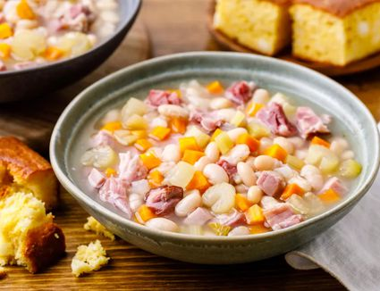 Ham and Bean Soup and Cornbread