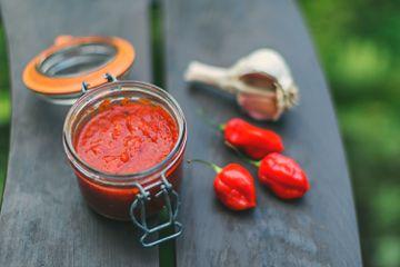 Hot Chilli Sauce on garden table