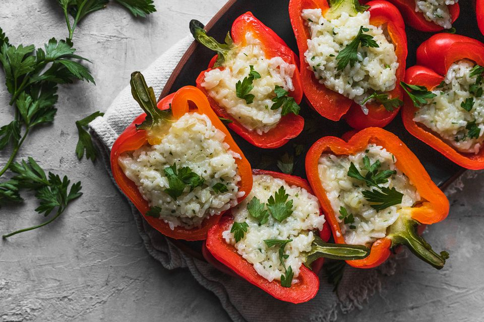 Vegetarian Rice and Cheddar Stuffed Peppers