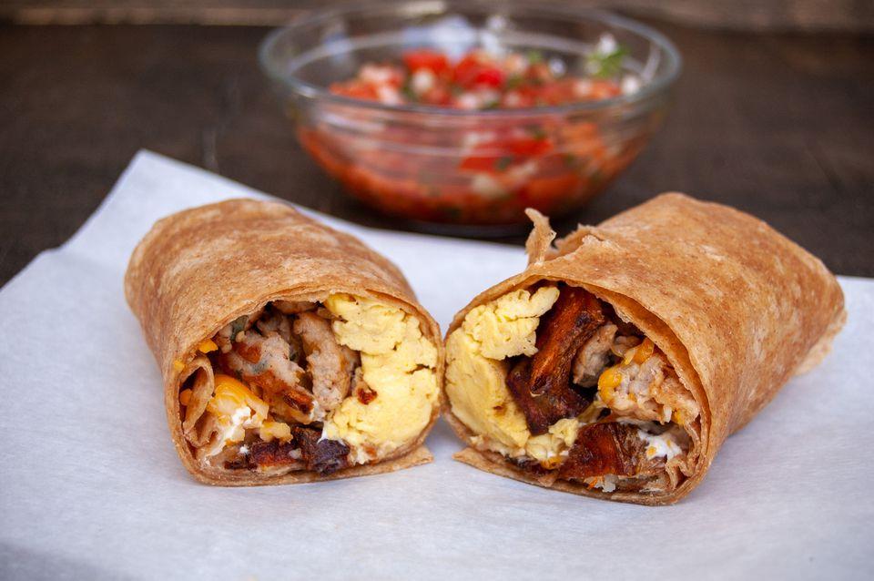 potato egg and sausage breakfast burrito