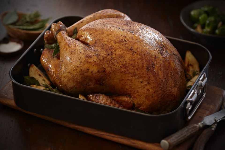 roasted turkey in pan