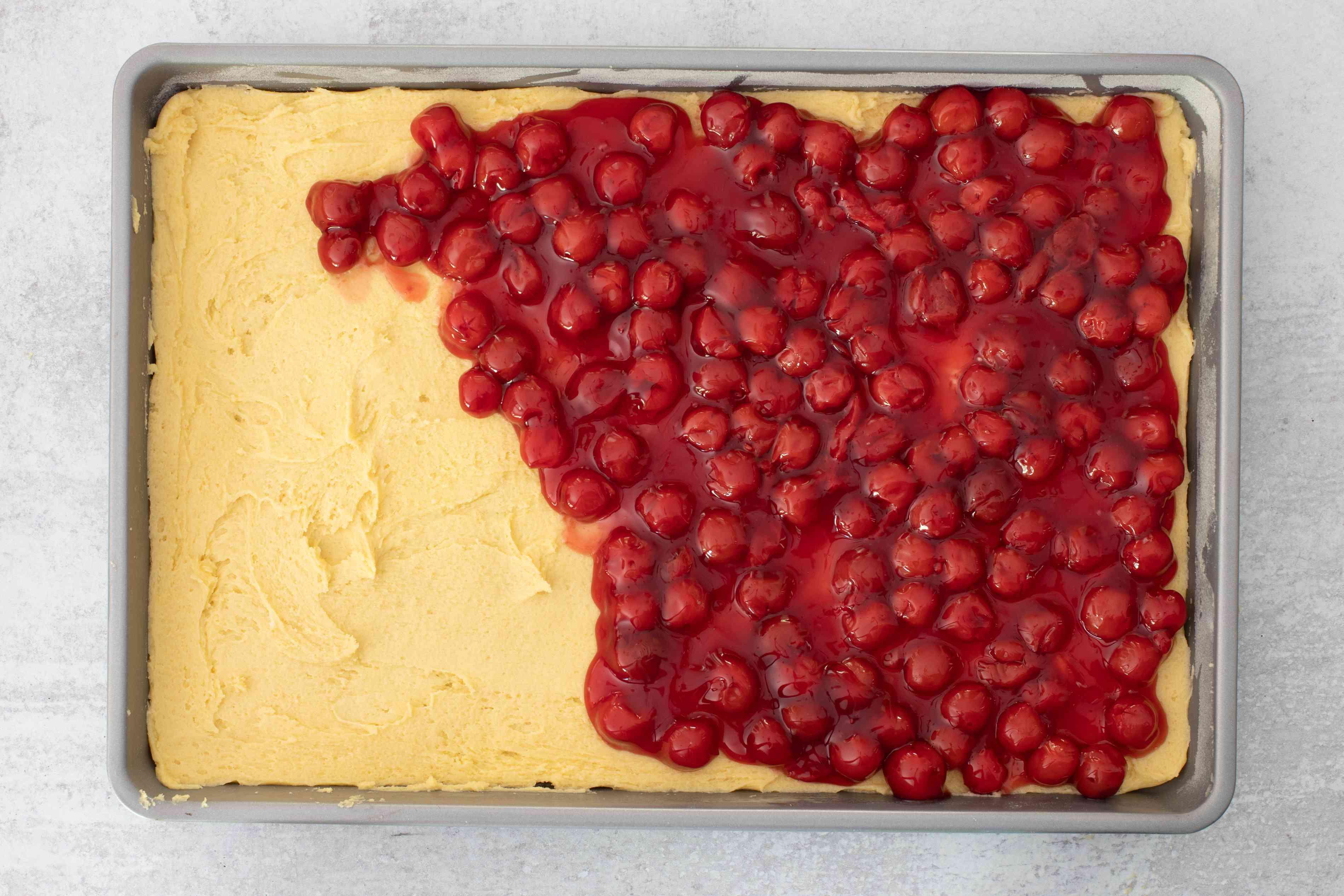 cherries on sugar cookie dough base
