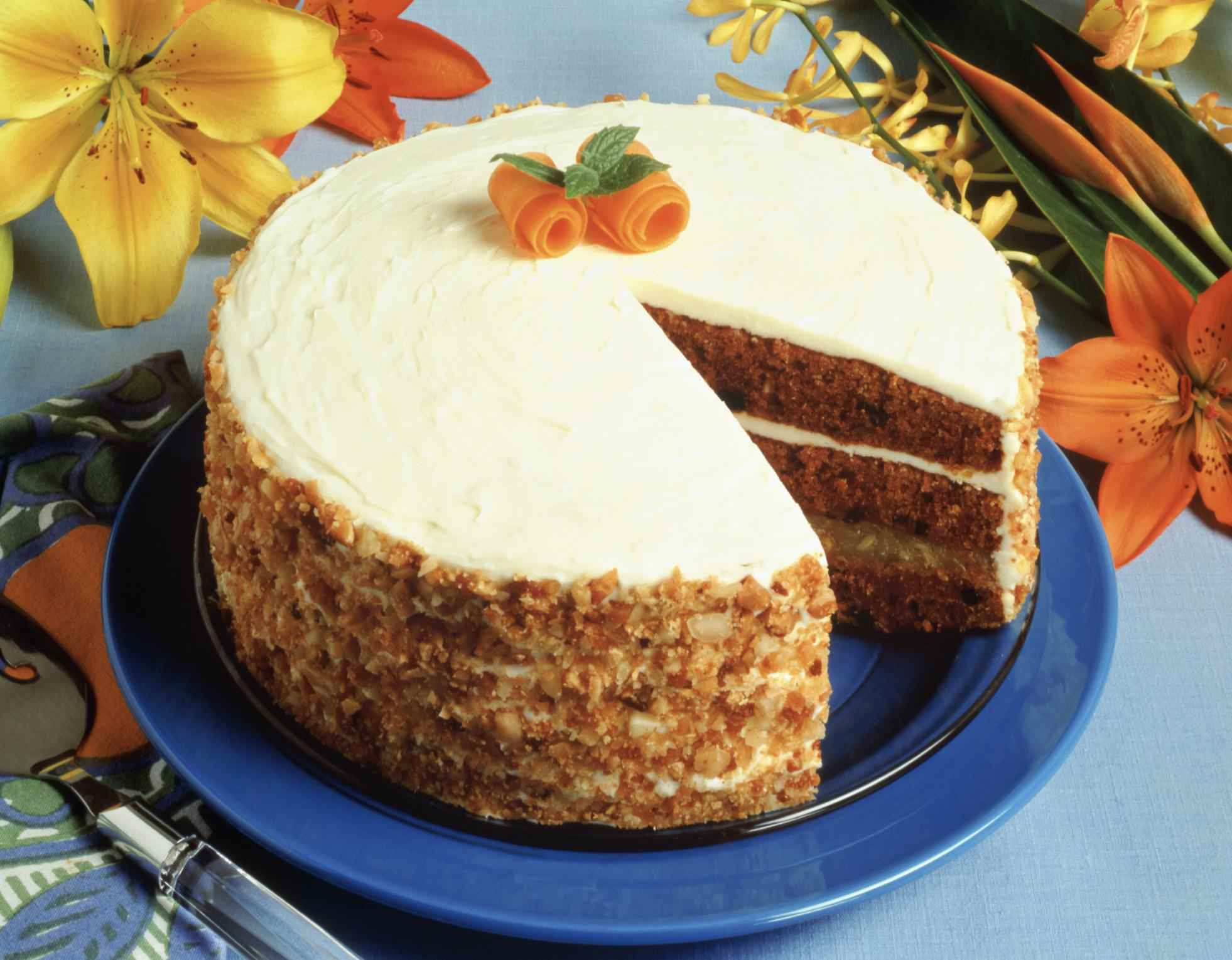 A Carrot Cake with Slice Removed