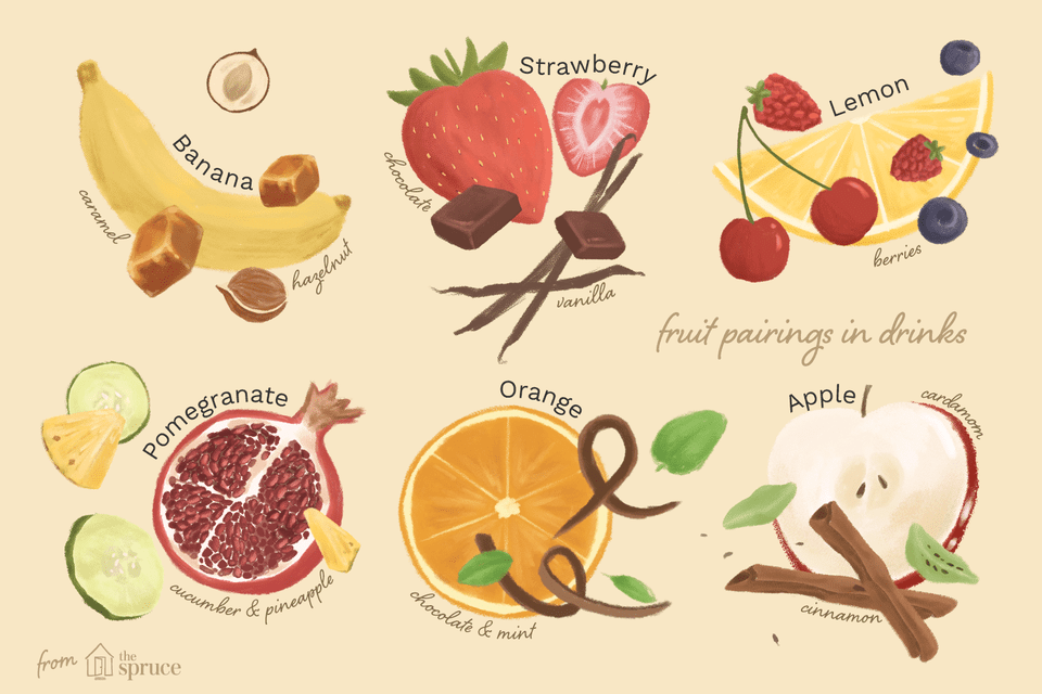 Illustration of fruit pairings for cocktail recipes: banana, strawberry, lemon, pomegranate, orange, and apple