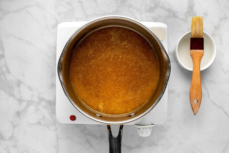 caramel mixture in the saucepan