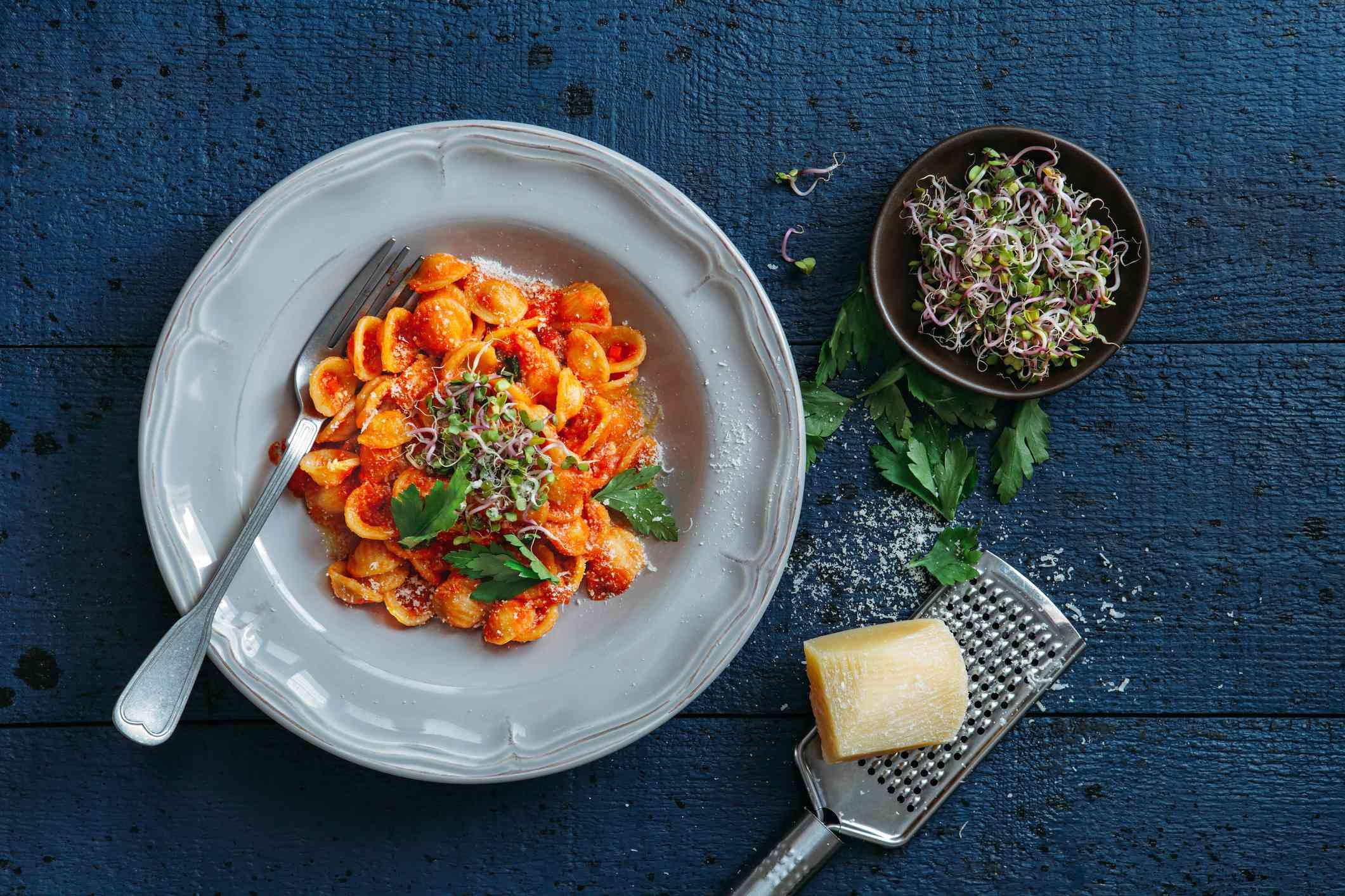 Orecchiette pasta with ricotta in tomato cream sauce