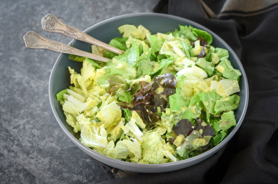 Green salad with scallion mustard vinaigrette