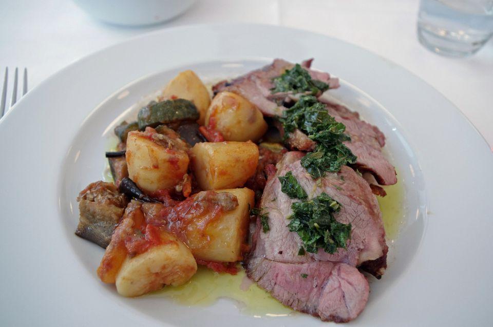 Roast lamb with mint sauce
