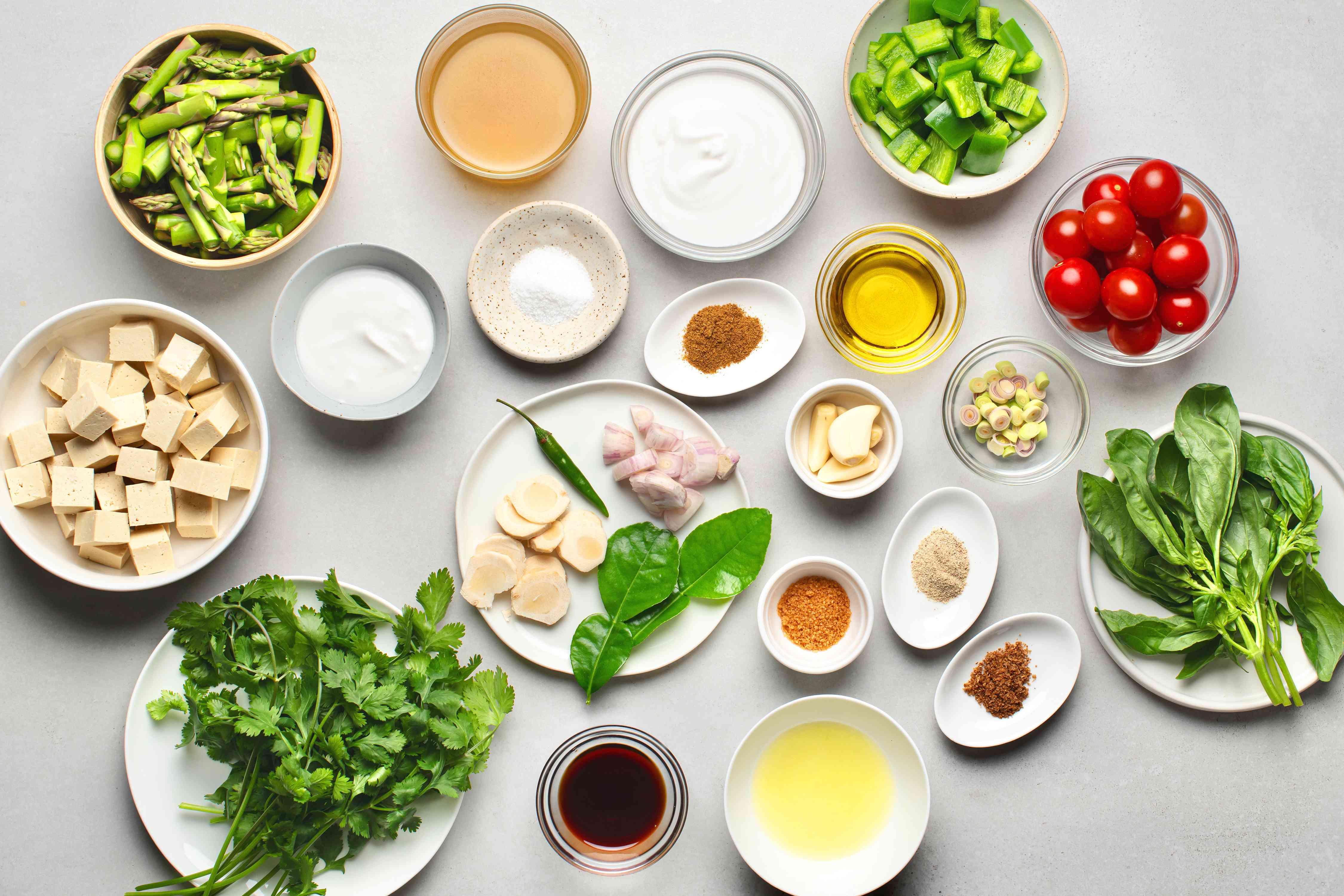 Vegetarian Thai Green Coconut Curry ingredients