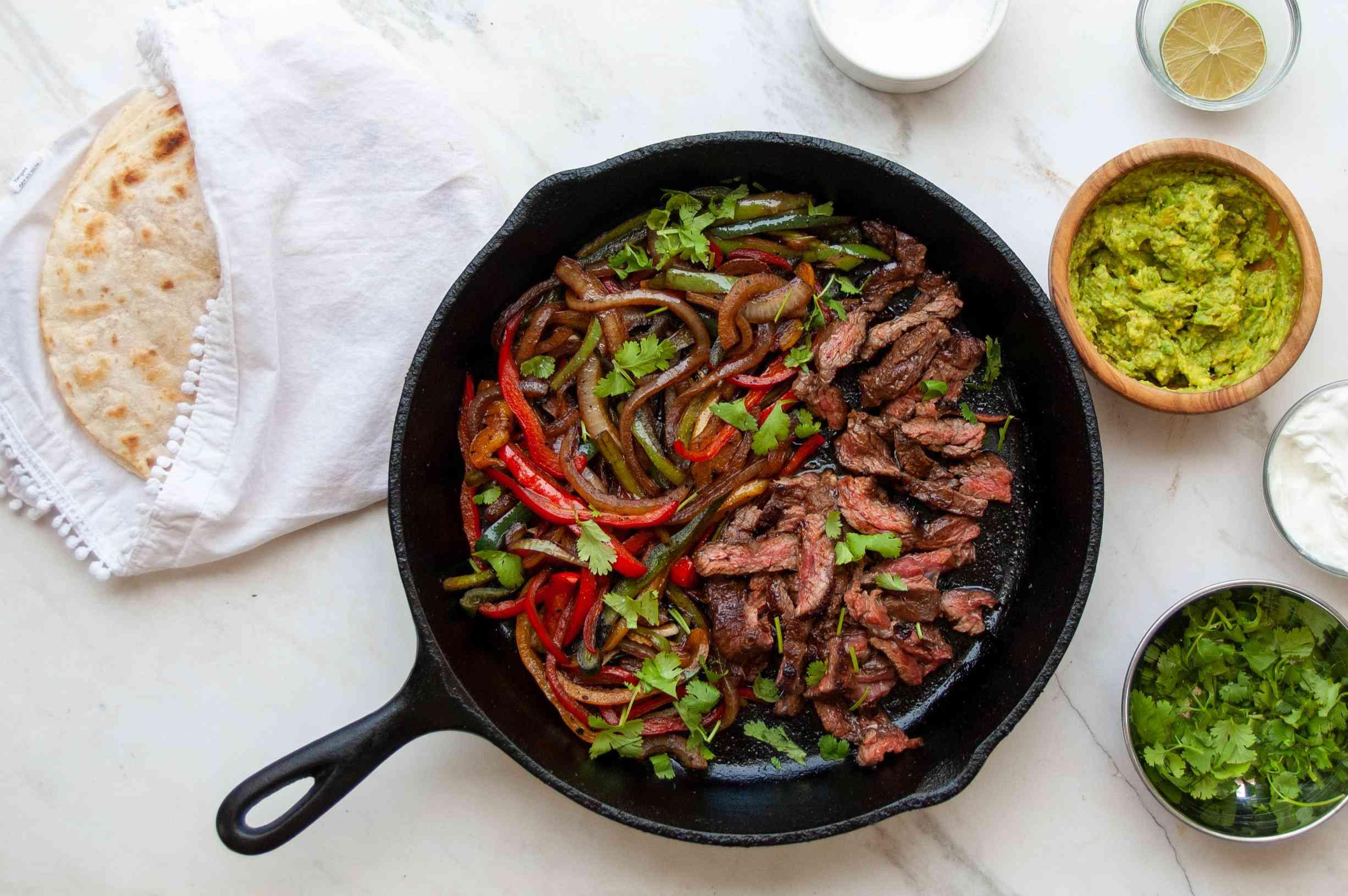 steak fajitas with accoutrements