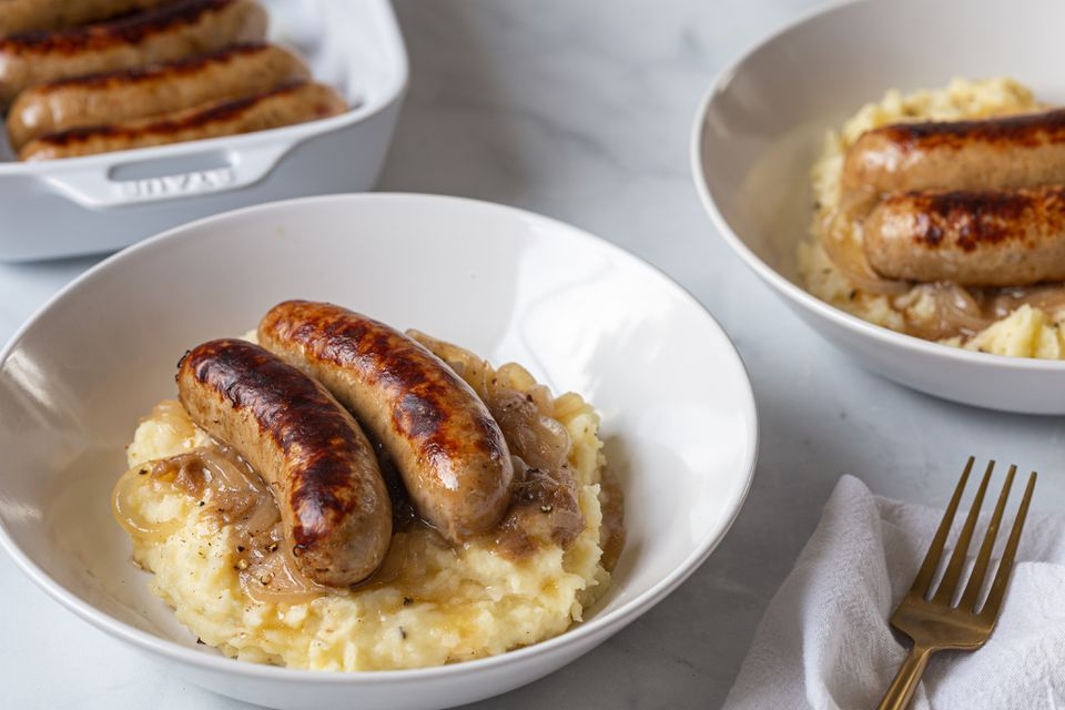 Sausage and mash with onion gravy recipe
