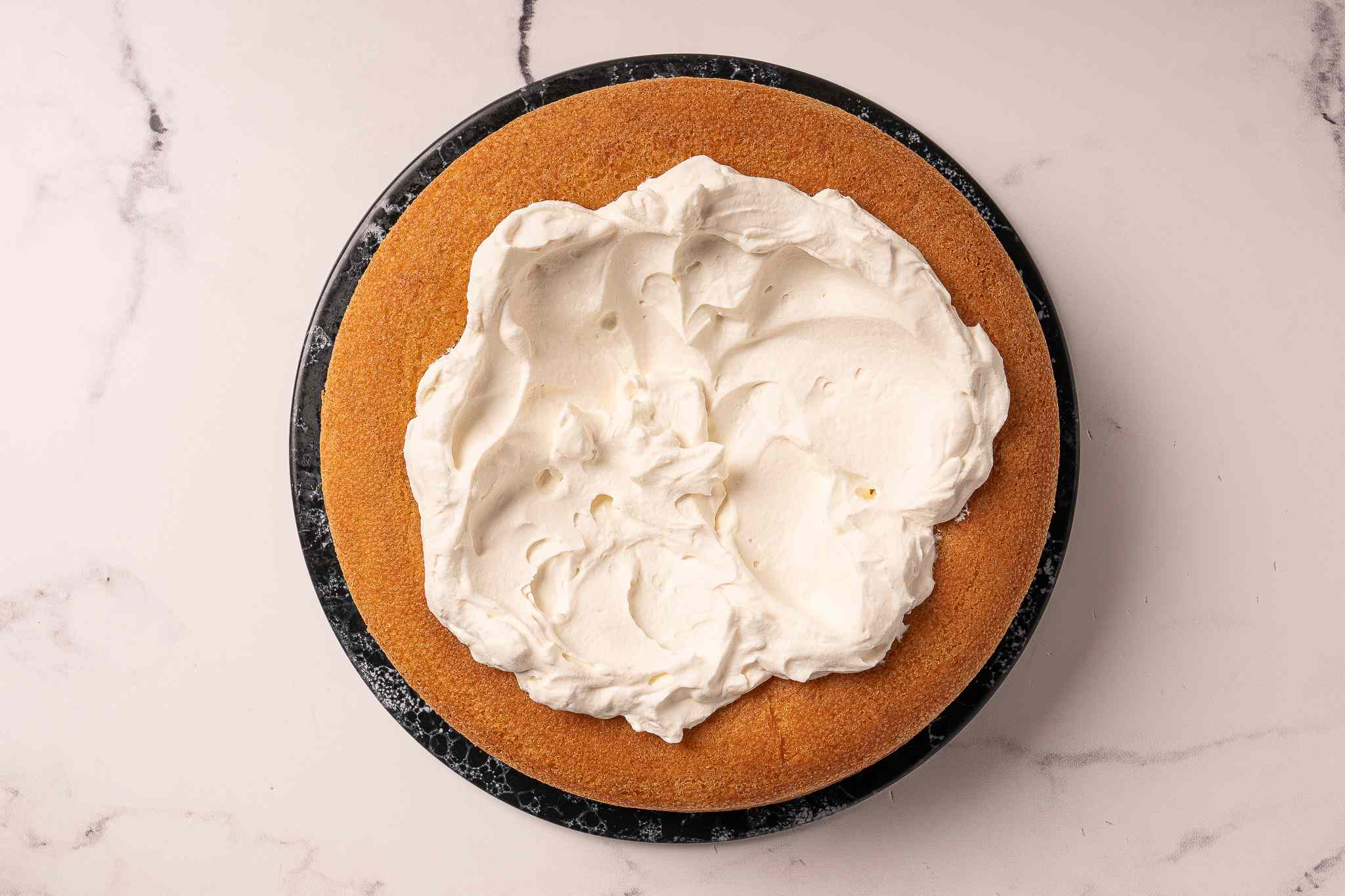 Savarin with whipped cream in the center
