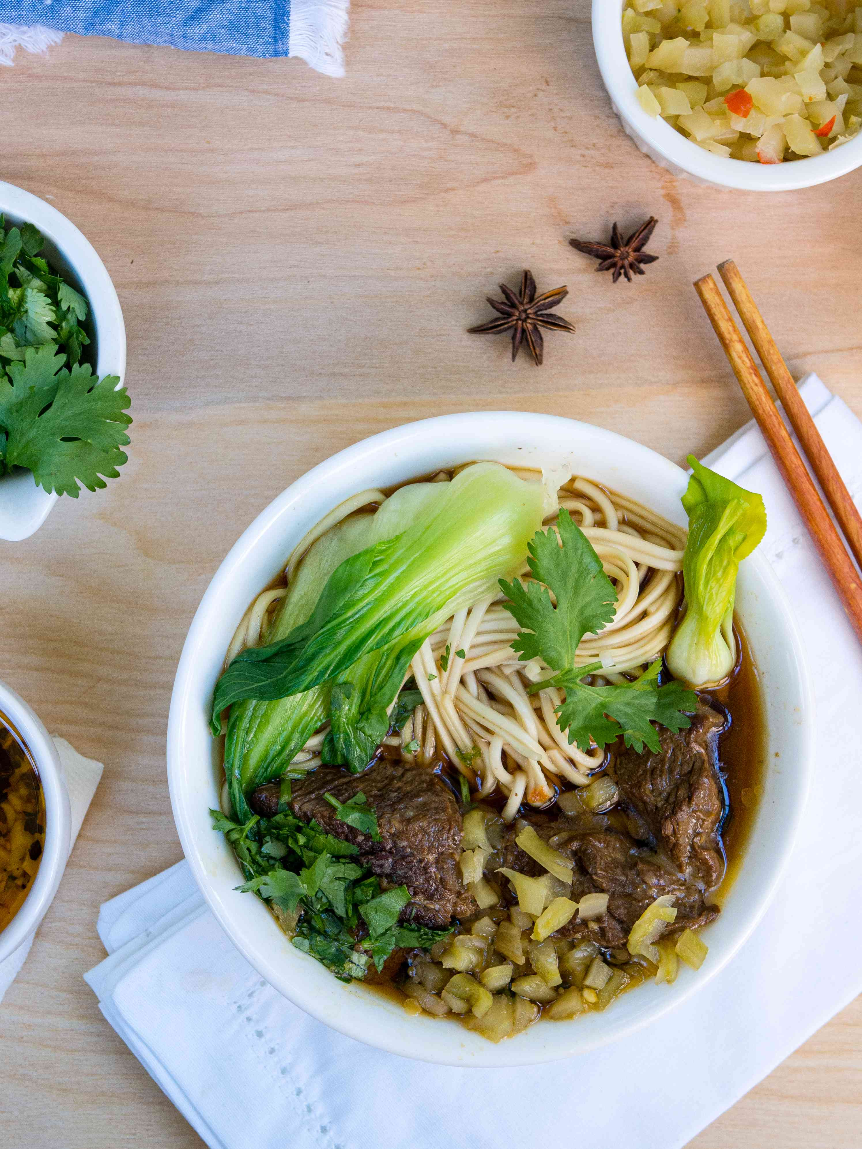 bowl of taiwanese beef noodle soup