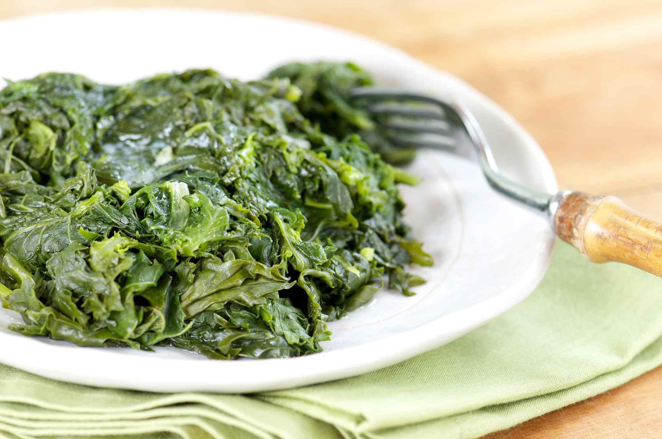 Braised greens on a plate